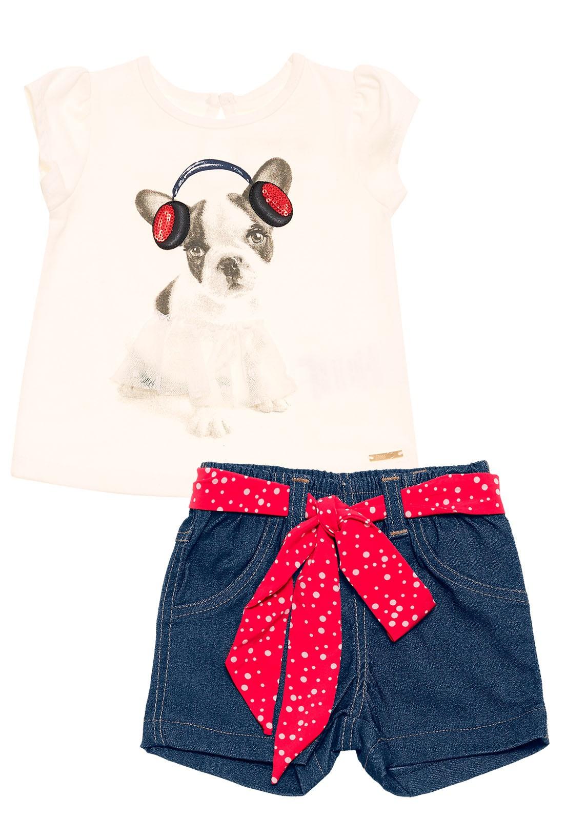 Conjunto Infantil Blusa e Shorts Nini&Bambini Cachorrinho Jeans e Off-white