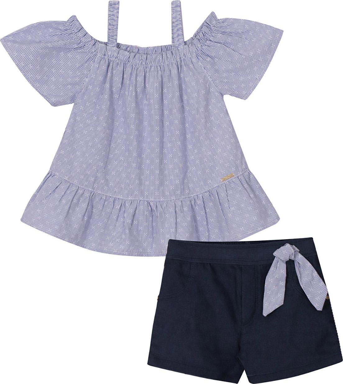 Conjunto Infantil Blusa em Tricoline e Shorts em Bengaline Jeans Nini & Bambini Azul