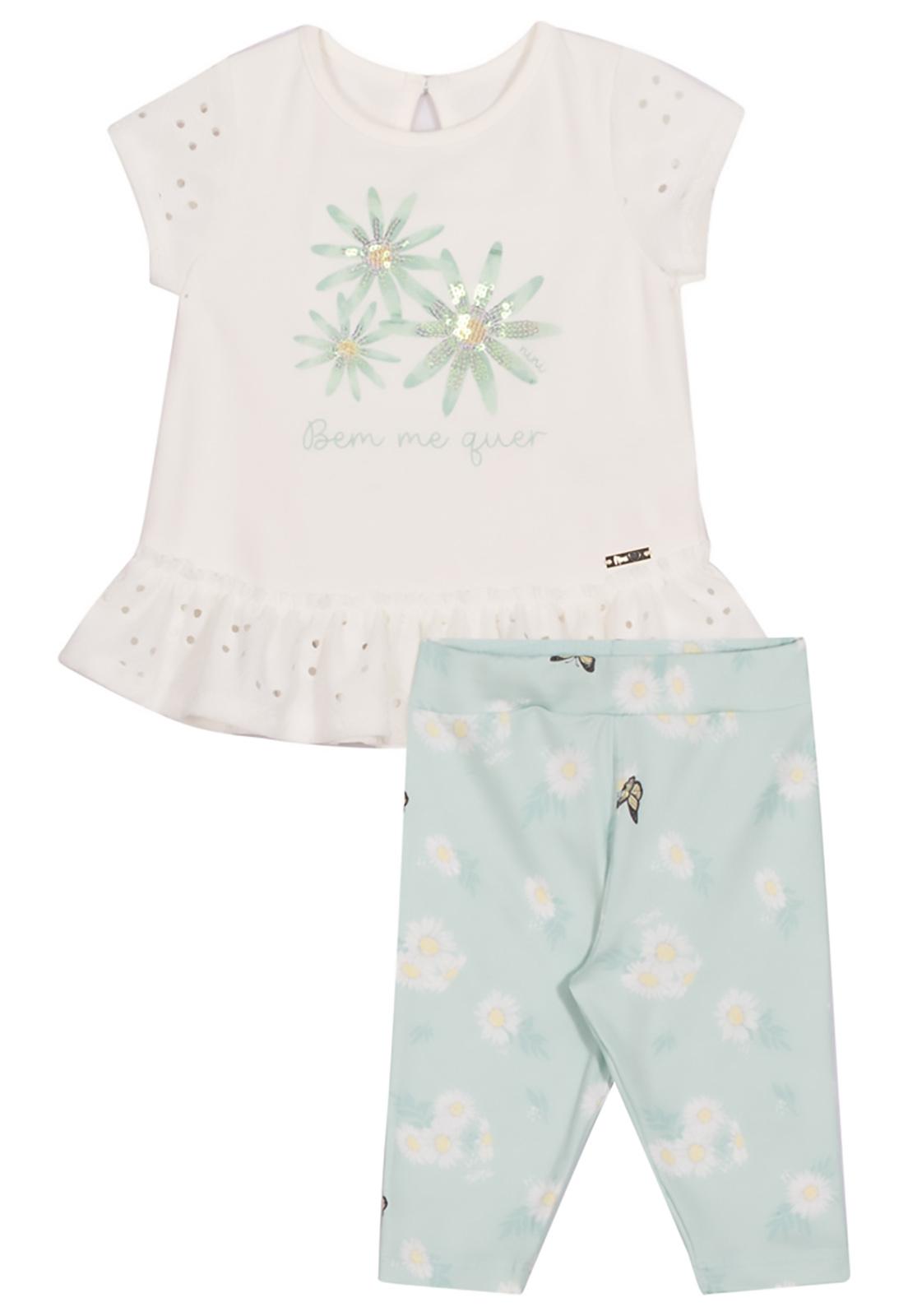 Conjunto Infantil Blusa LAzzi e Capri Nini & Bambini Flores Offwhite e Verde