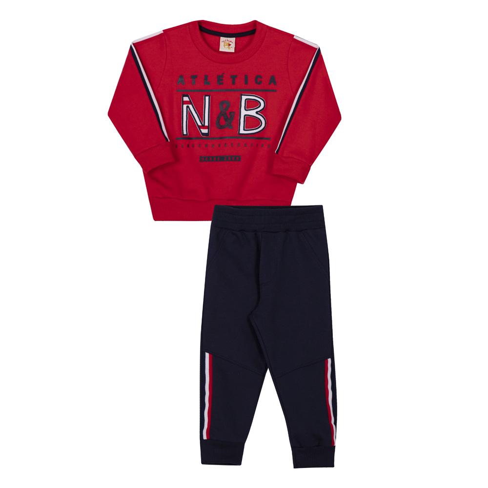 Conjunto Infantil Blusão e Calça Moletom Nini & Bambini N&Br Vermelho e Marinho