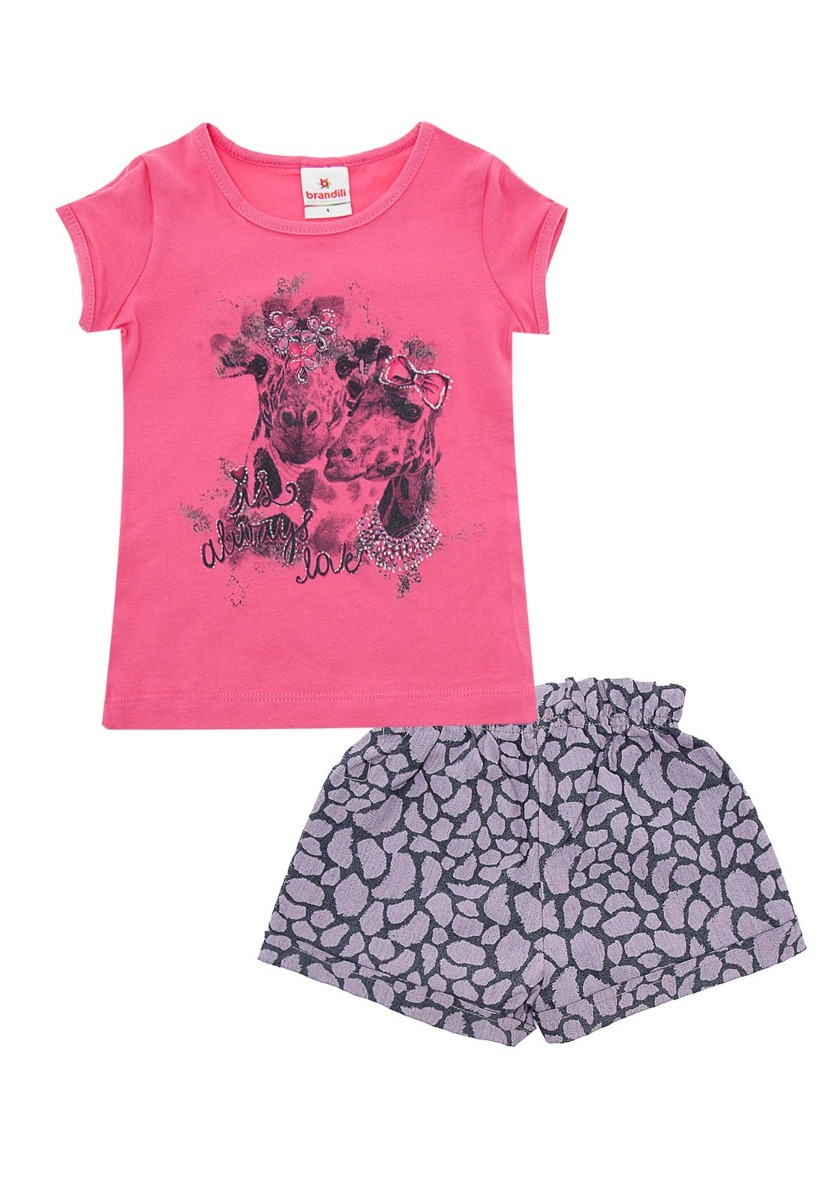 94b38913f9458 Conjunto Infantil Brandili Feminino Always Love   Tamanho 1 - Sonho  colorido kids ...