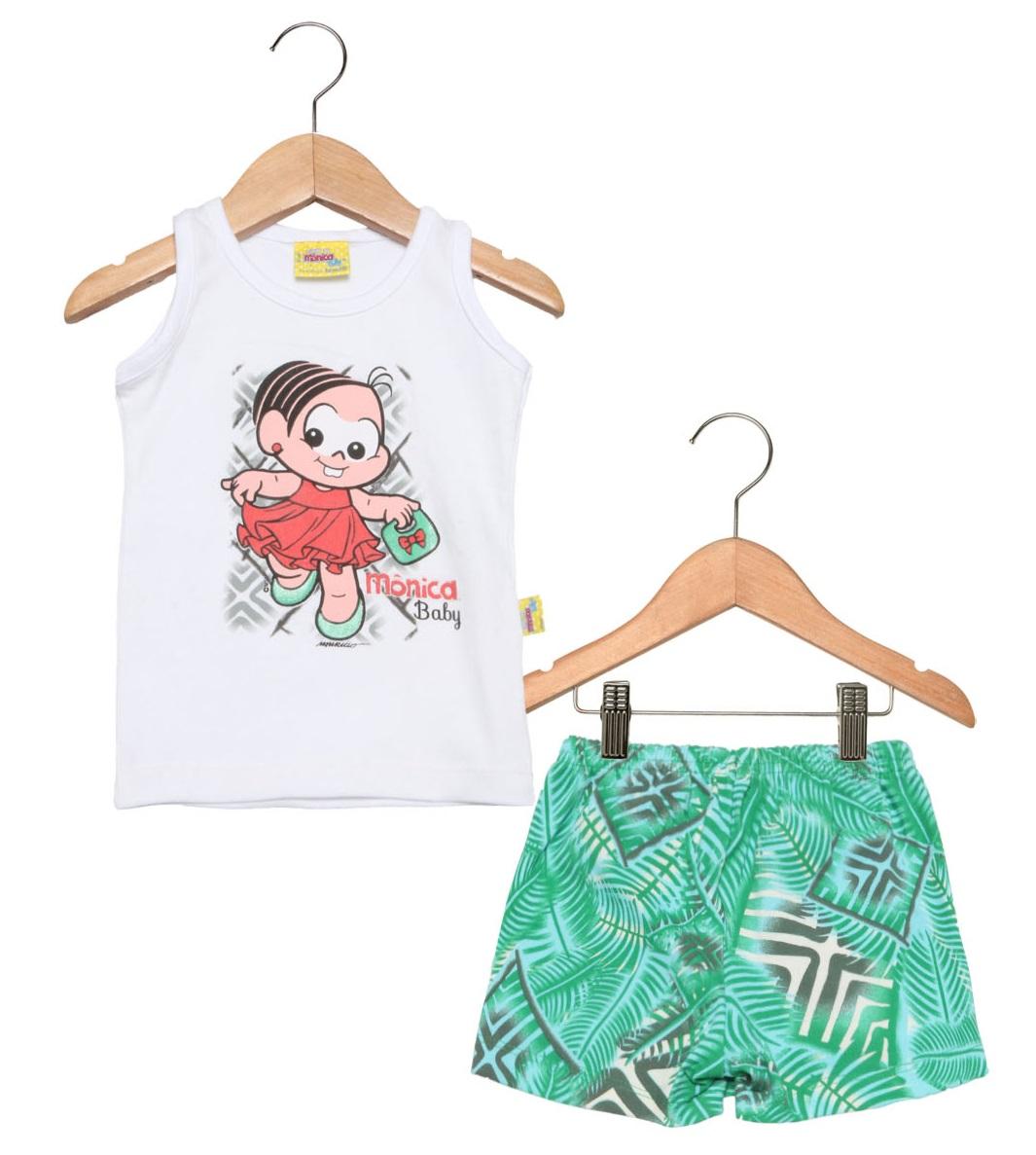 Conjunto Infantil Brandili Feminino  Mônica verde/branco  / Tamanho 2