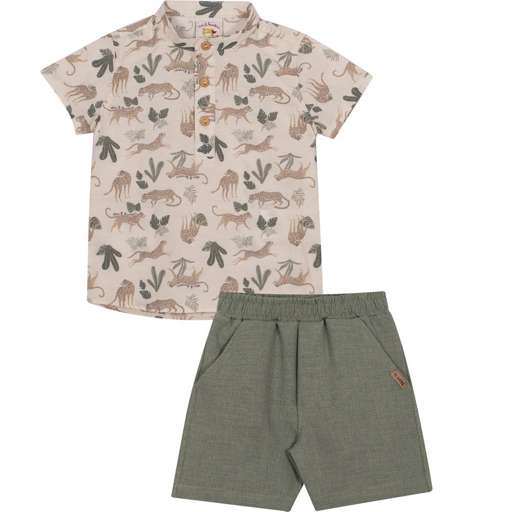 Conjunto Infantil Camisa em tricoline e Bermuda  em linho Nini&Bambini Safari Bege e verde