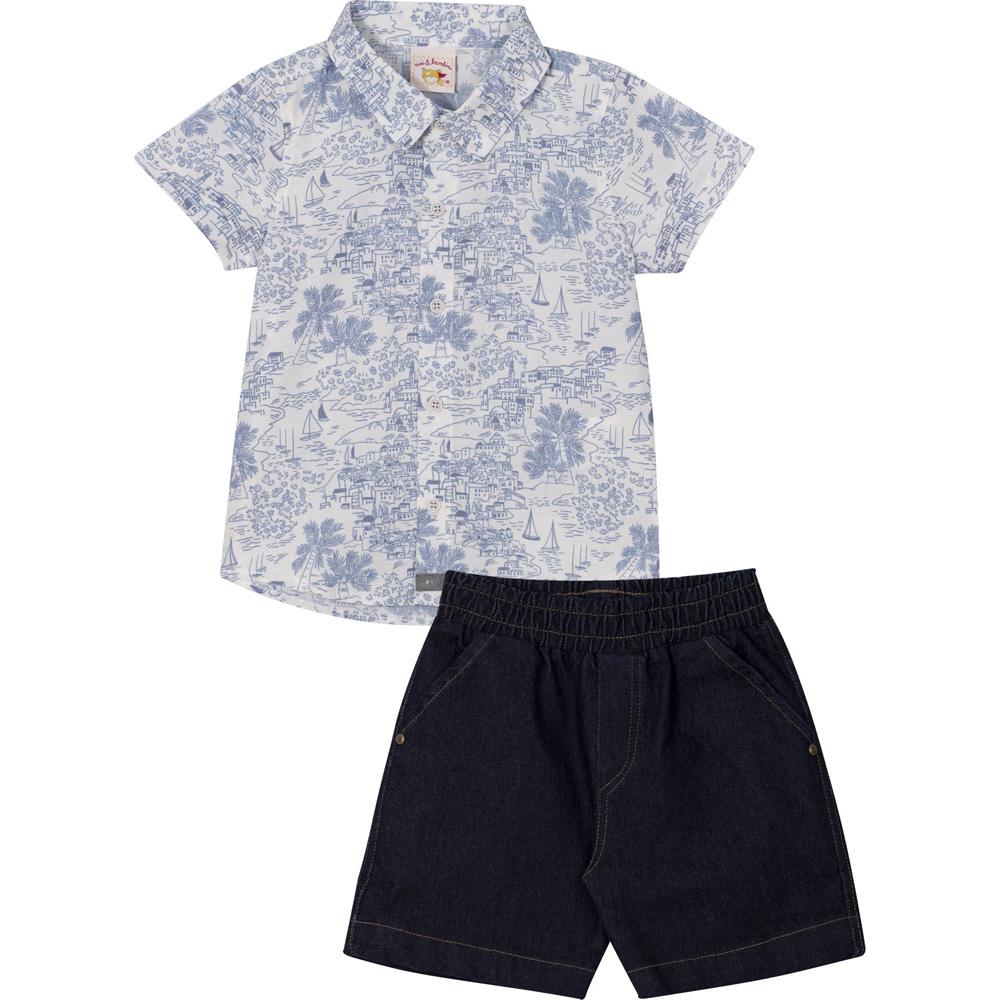 Conjunto Infantil Camisa em Tricoline e Bermuda Jeans Nini&Bambini Branco e Jeans