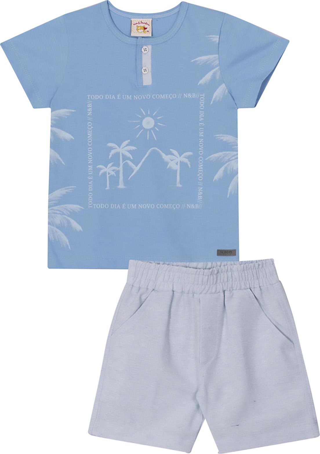 Conjunto Infantil Camiseta e Bermuda em tecido Linen Nini&Bambini  Coqueiros Azul