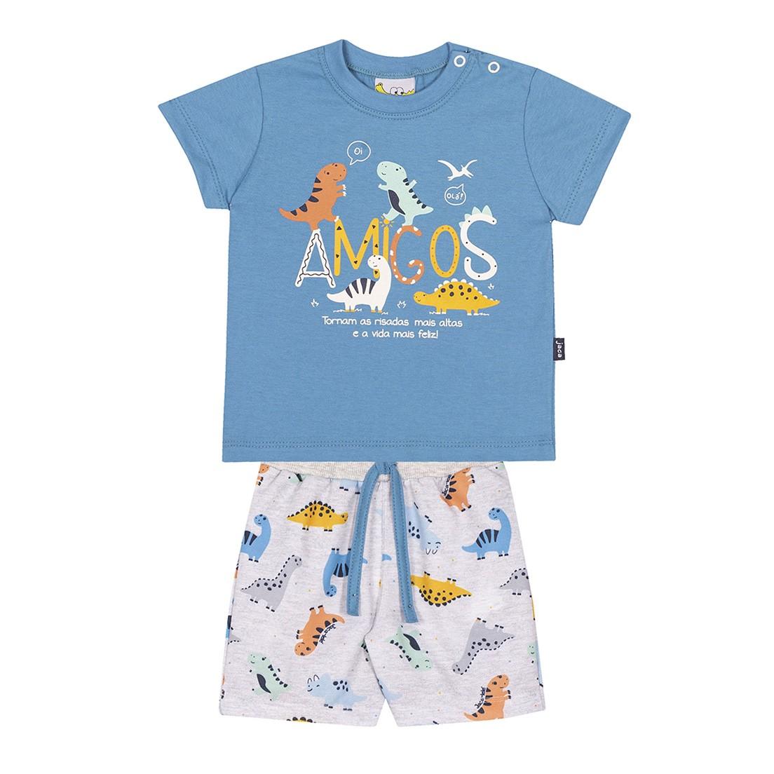Conjunto Infantil Camiseta e Bermuda JACA-LELÉ Amigos Dinossauros e Mescla Azul