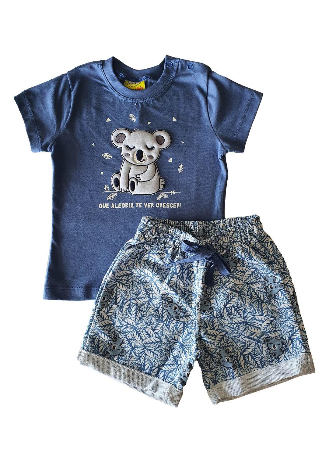 Conjunto Infantil Camiseta e Bermuda JACA-LELÉ  Coala Azul