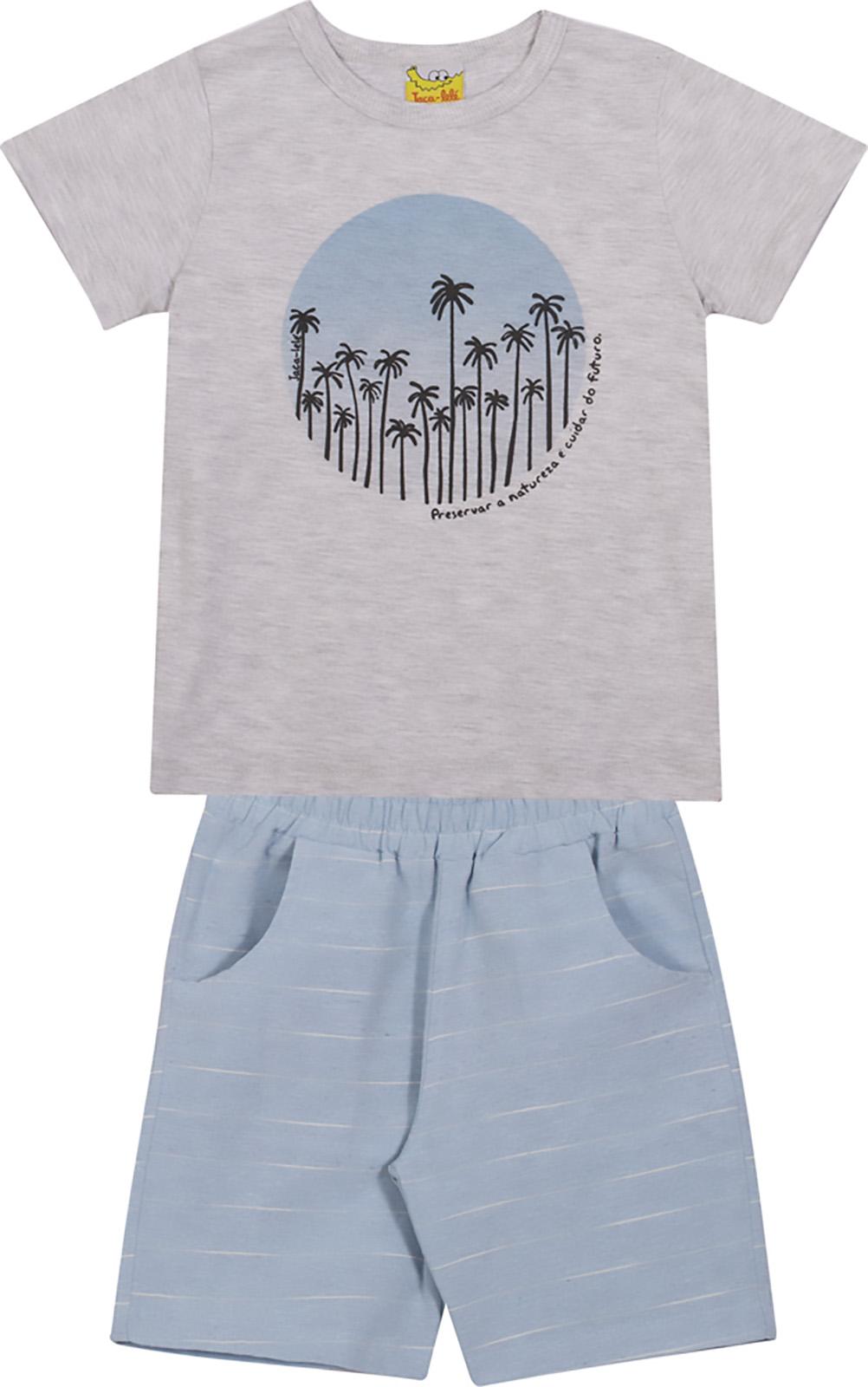 Conjunto Infantil Camiseta e Bermuda JACA-LELÉ Coqueiros Cinza e Azu