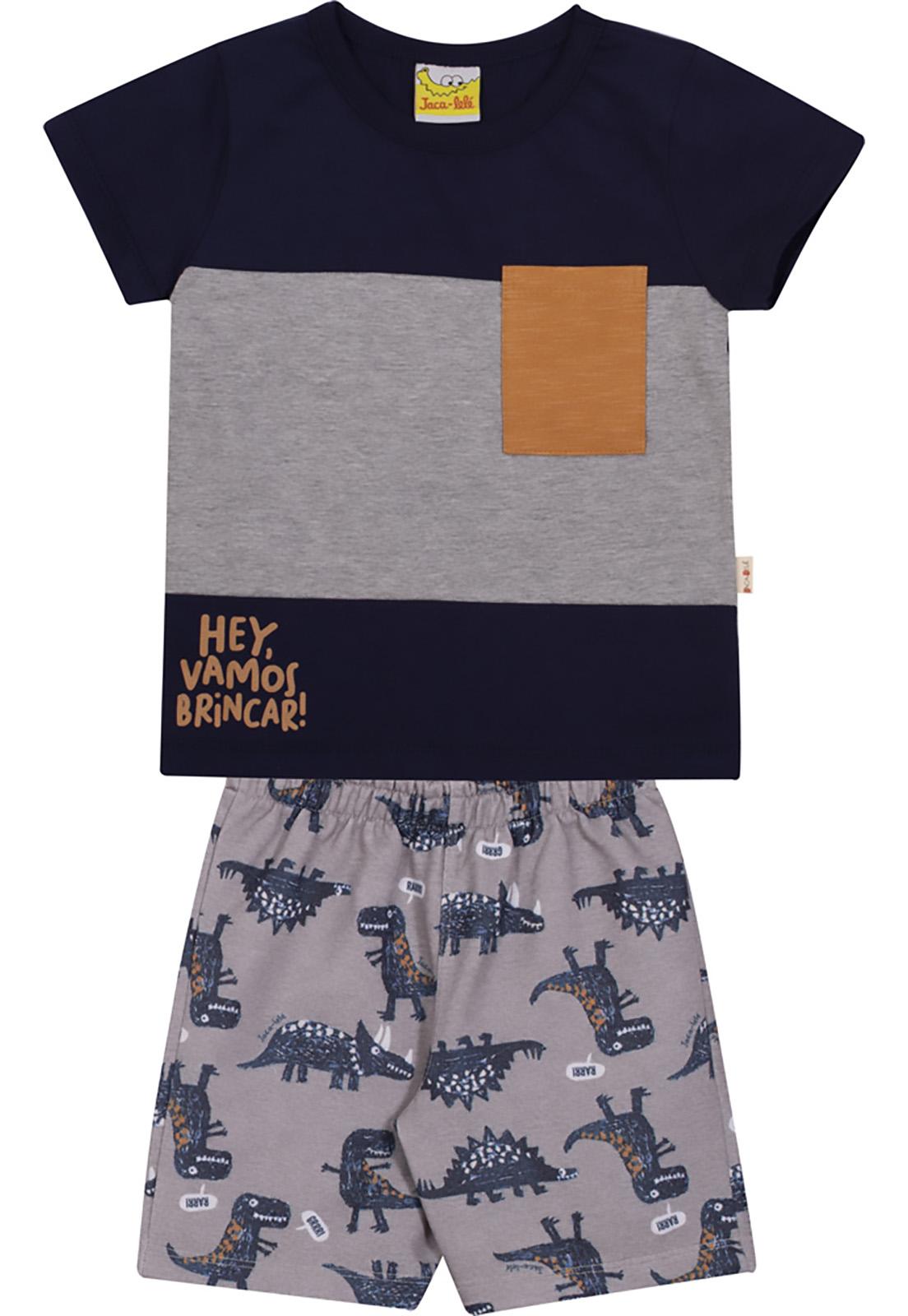 Conjunto Infantil Camiseta e Bermuda JACA-LELÉ Dinossauros Marinho e Cinza