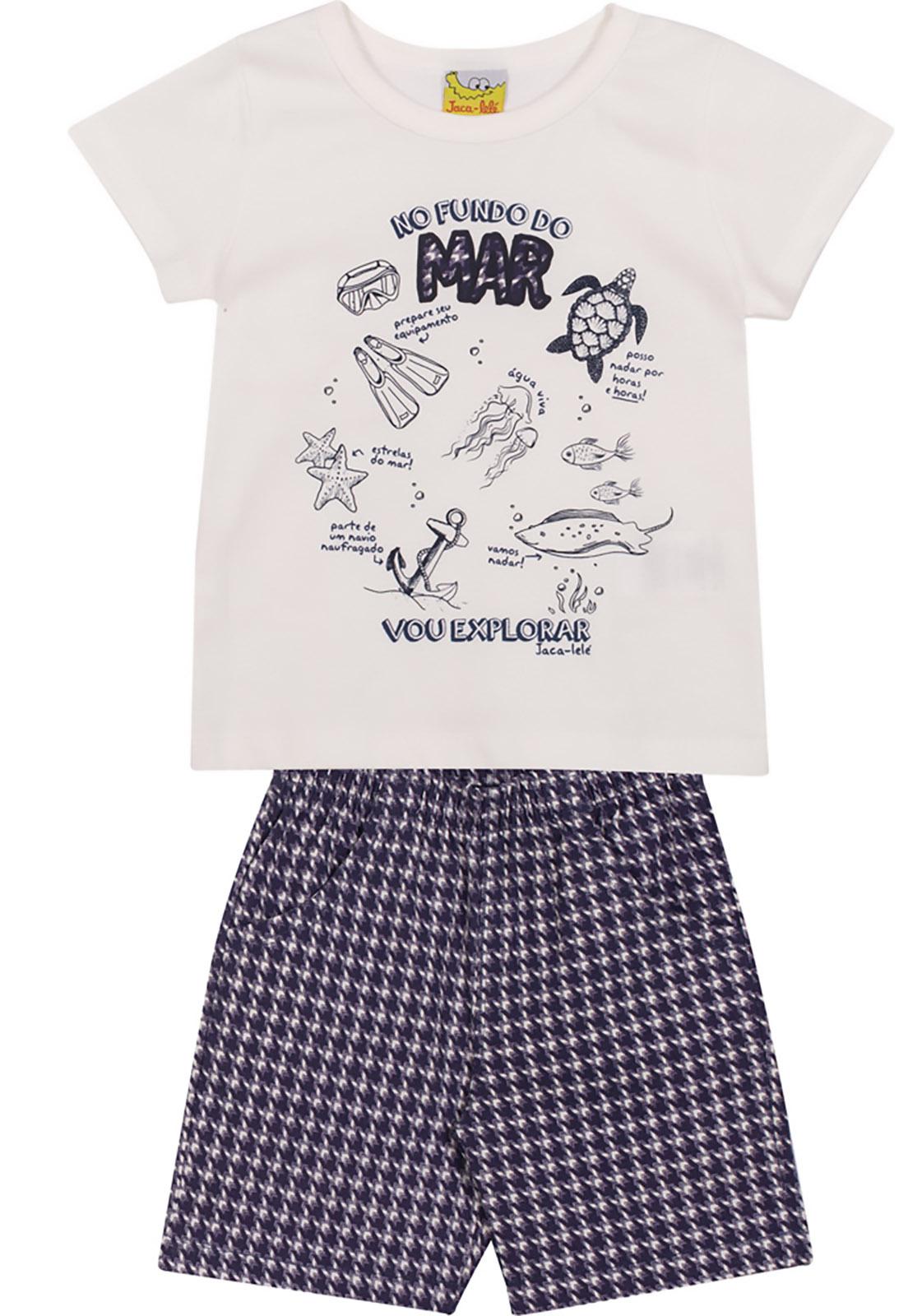 Conjunto Infantil Camiseta e Bermuda JACA-LELÉ  Fundo do Mar Offwhite e Azul