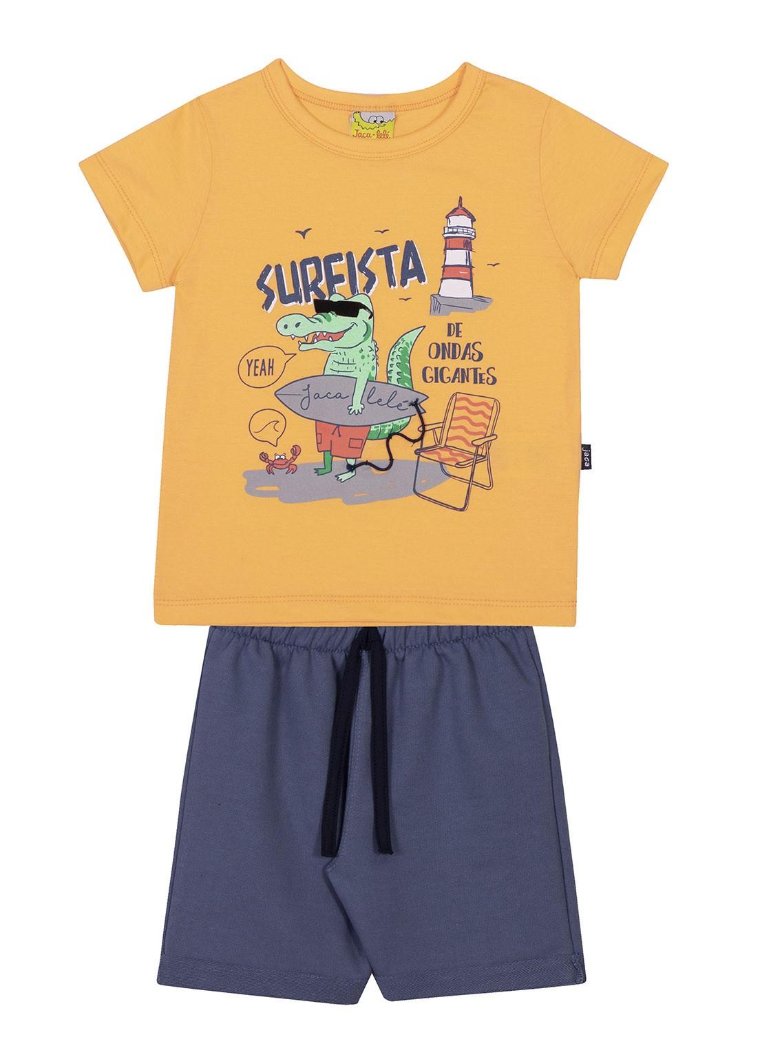 Conjunto Infantil Camiseta e Bermuda JACA-LELÉ Jacaré Surfista Laranja e azul