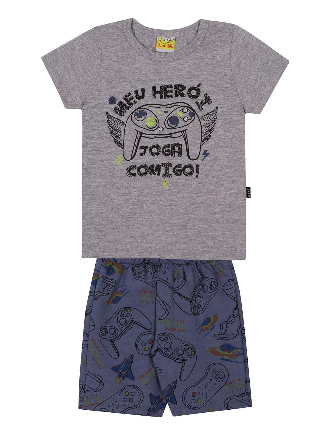 Conjunto Infantil Camiseta e Bermuda JACA-LELÉ Joga Comigo Mescla e Azul