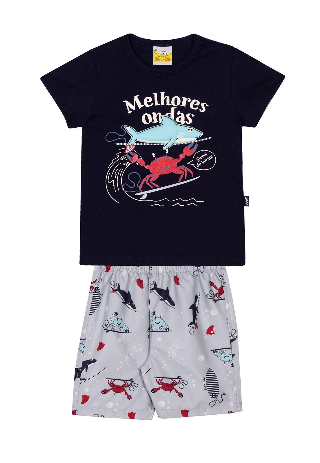 Conjunto Infantil Camiseta e Bermuda JACA-LELÉ Melhores ondas Marinho e Azul