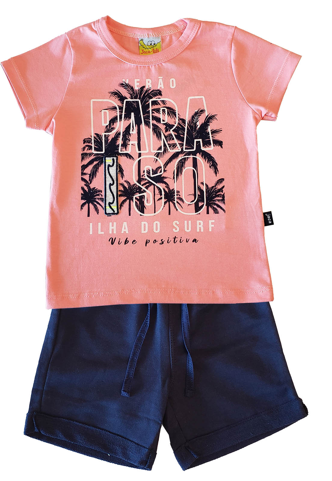 Conjunto Infantil Camiseta e Bermuda JACA-LELÉ Paraíso Salmão e Marinho