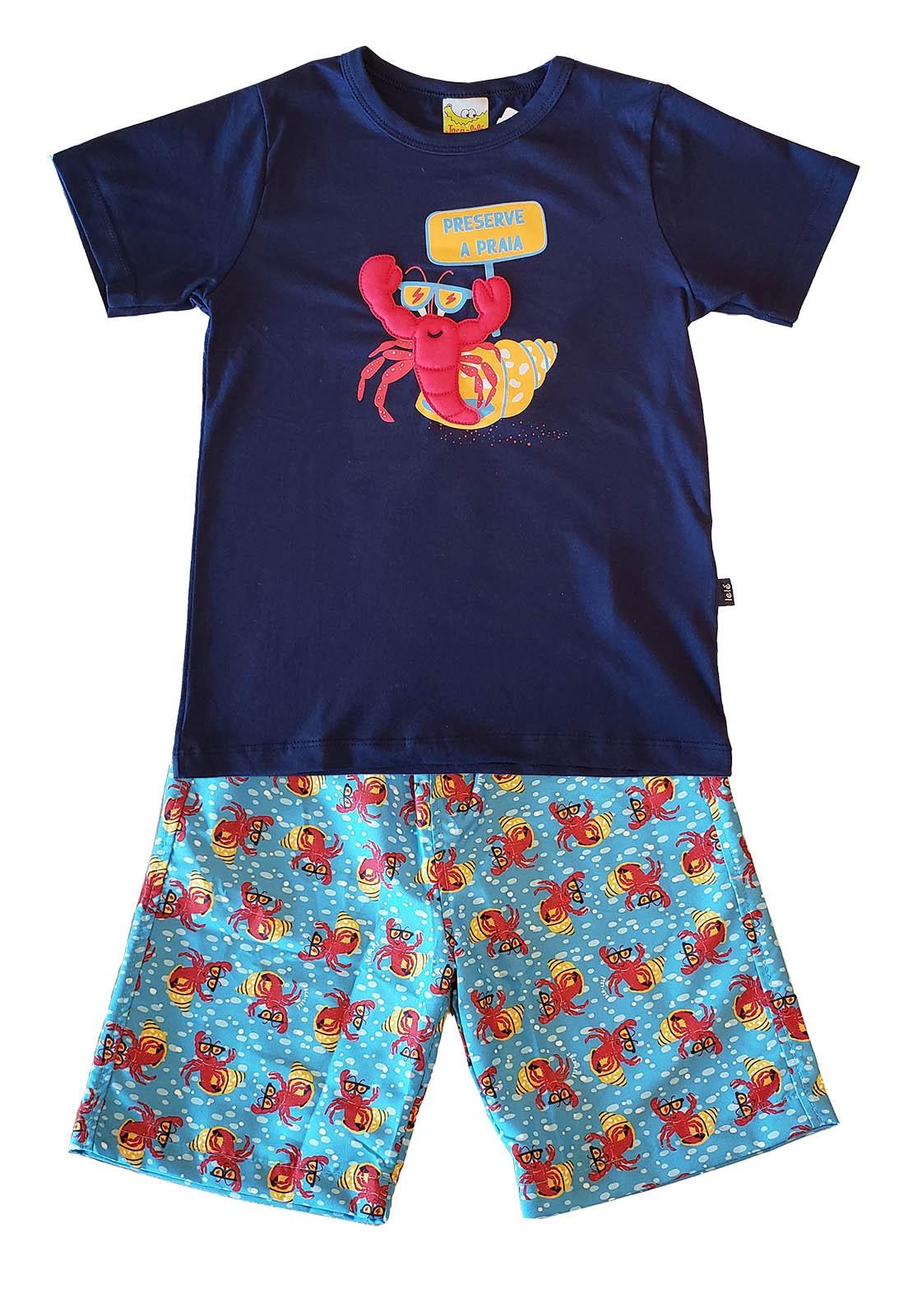Conjunto Infantil Camiseta e Bermuda JACA-LELÉ Preserve a Praia Marinho e Azul