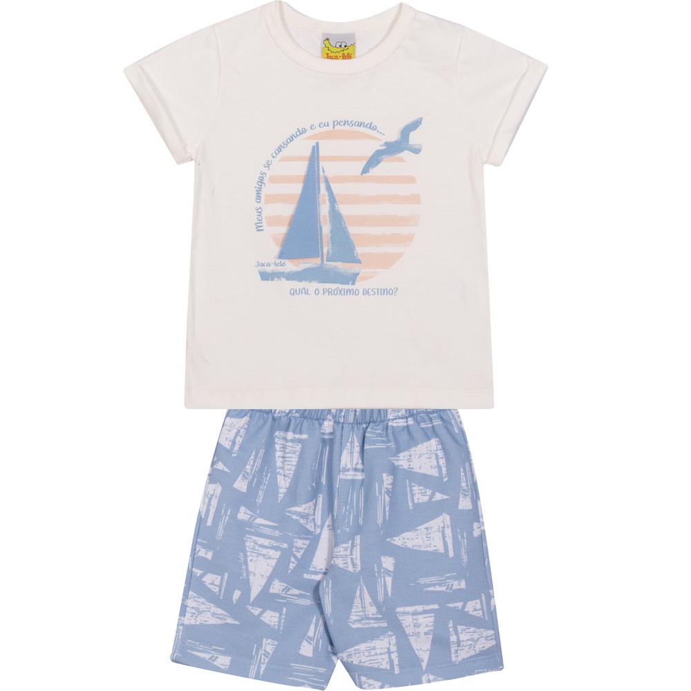 Conjunto Infantil Camiseta e Bermuda JACA-LELÉ Veleiro Offwhite e Azul