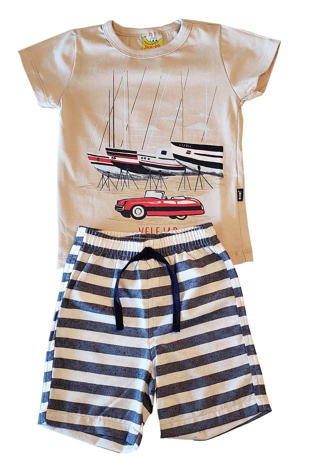 Conjunto Infantil Camiseta e Bermuda JACA-LELÉ Veleiros Bege e listras