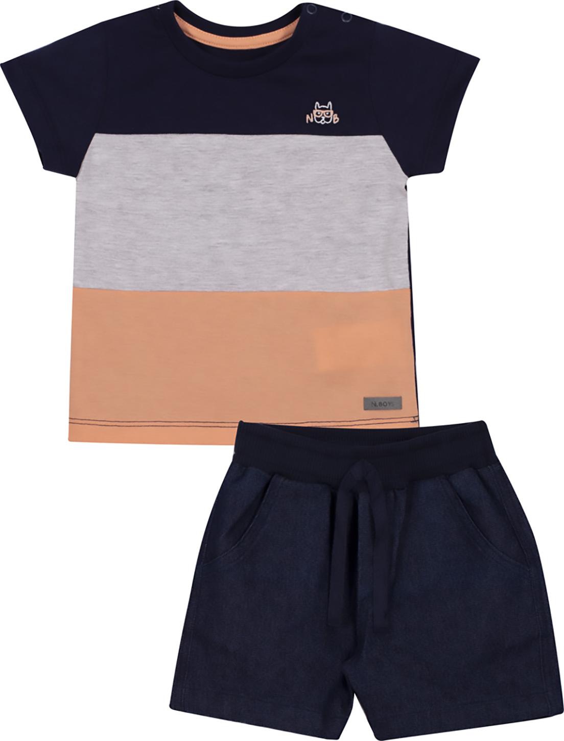 Conjunto Infantil Camiseta e Bermuda Jeans Nini&Bambini Marinho e Cinza