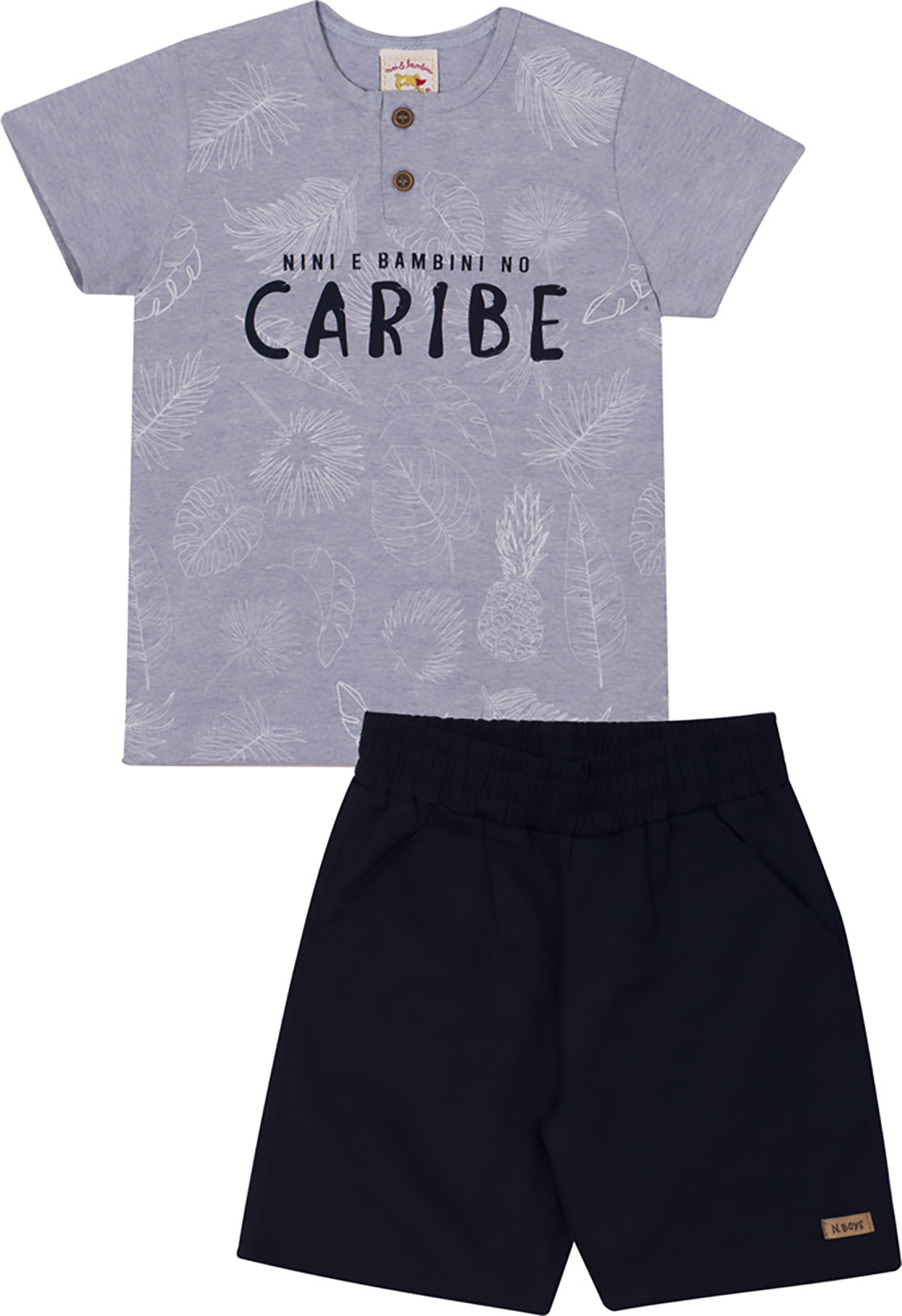Conjunto Infantil Camiseta e Bermuda Nini&Bambini Caribe Marinho e Mescla