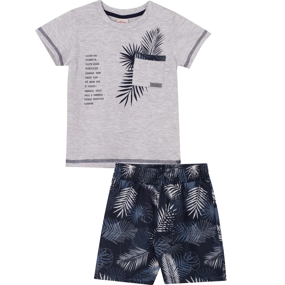 Conjunto Infantil Camiseta e Bermuda Nini&Bambini folhagem Cinza e Marinho