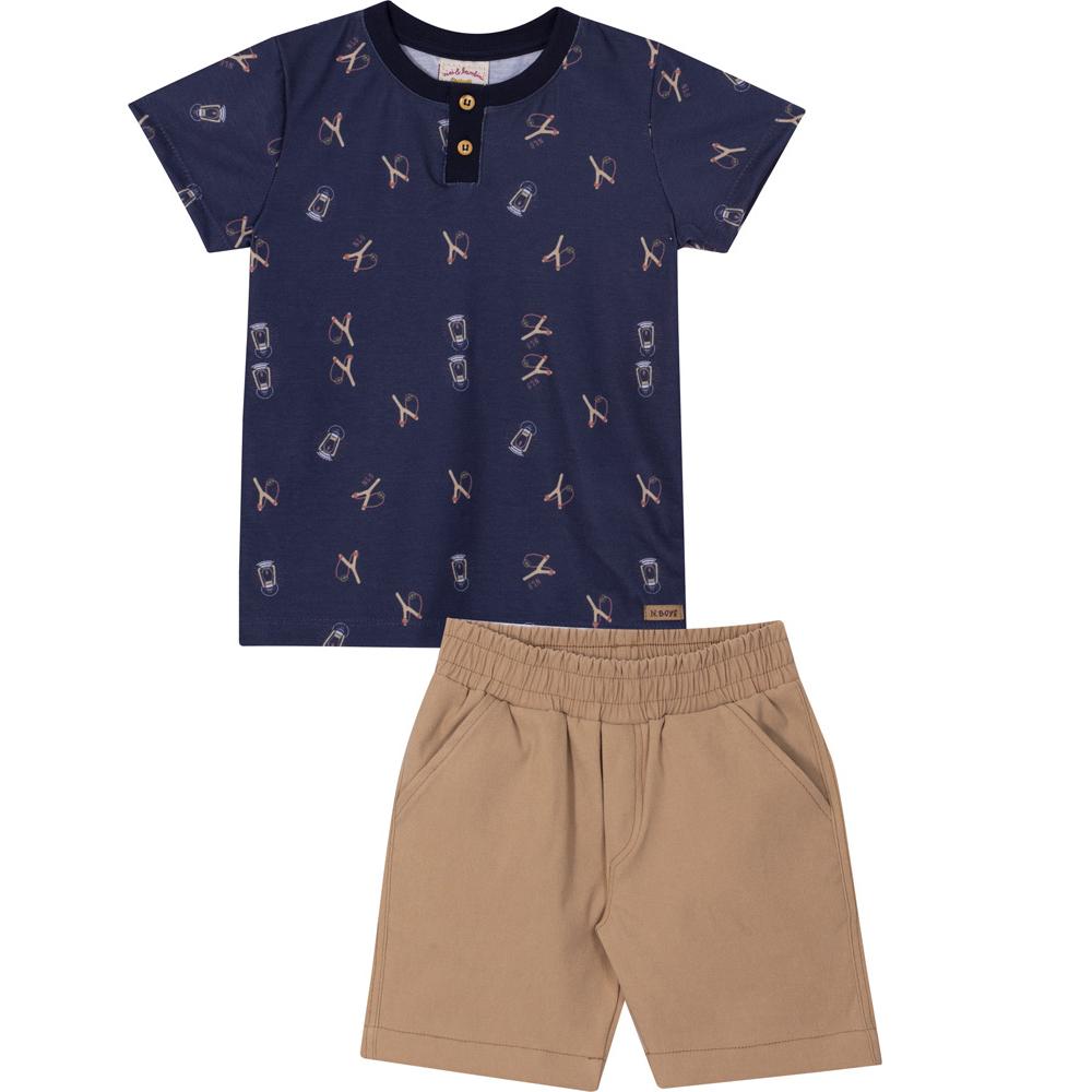 Conjunto Infantil Camiseta e Bermuda Nini&Bambini Marinho e Bege