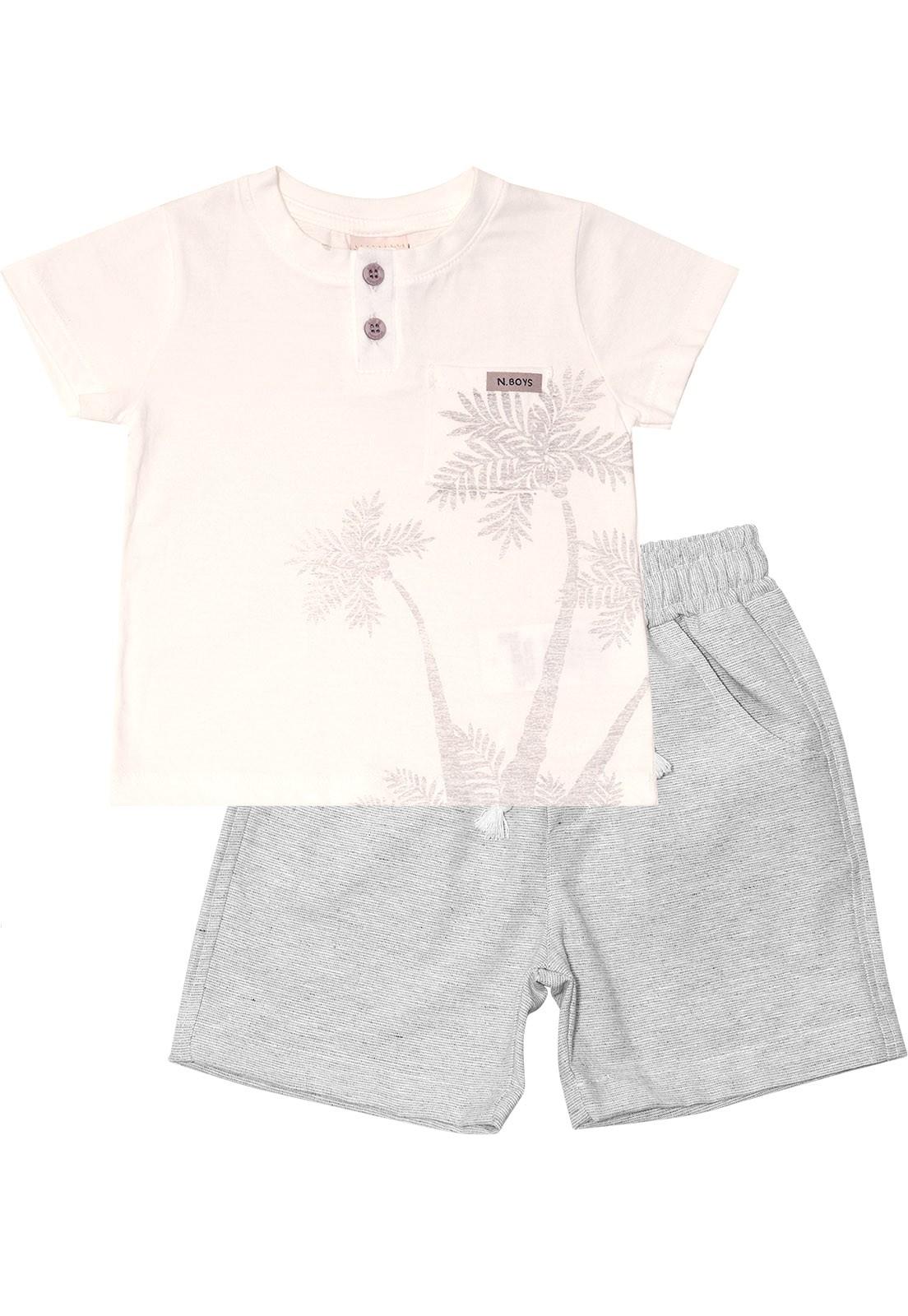 Conjunto Infantil Camiseta e Bermuda Nini&Bambini Off White  e cinza