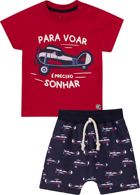 Conjunto Infantil Camiseta e Bermuda Nini&Bambini Para Voar Vermelho e Marinho