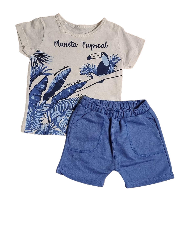 Conjunto Infantil Camiseta e Bermuda Nini&Bambini Topical Azul