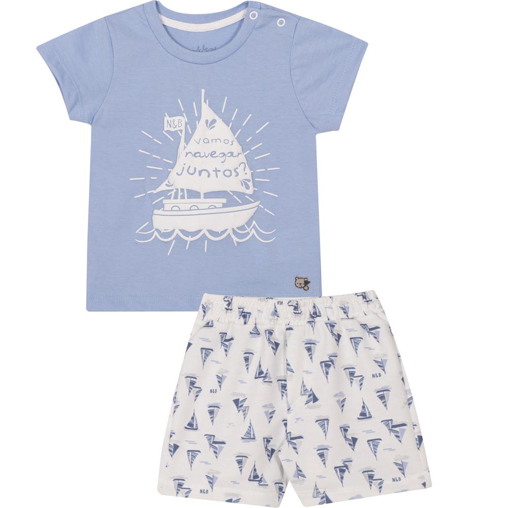 Conjunto Infantil Camiseta e Bermuda Nini&Bambini  Vamos Navegar Azul e branco