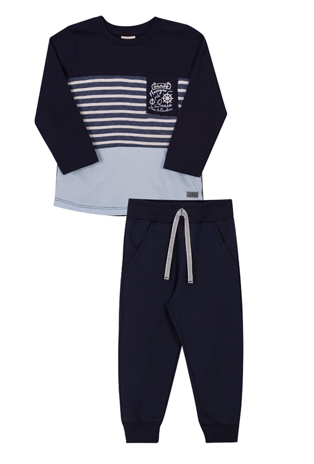 Conjunto Infantil Camiseta e Calça Moletinho Nini & Bambini Náutico Marinho