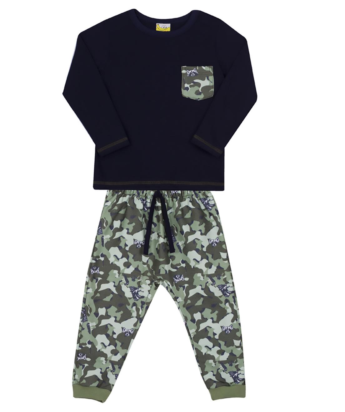 Conjunto Infantil Camiseta e Calça Moletom Jaca Lelé Camuflado Marinho e Verde