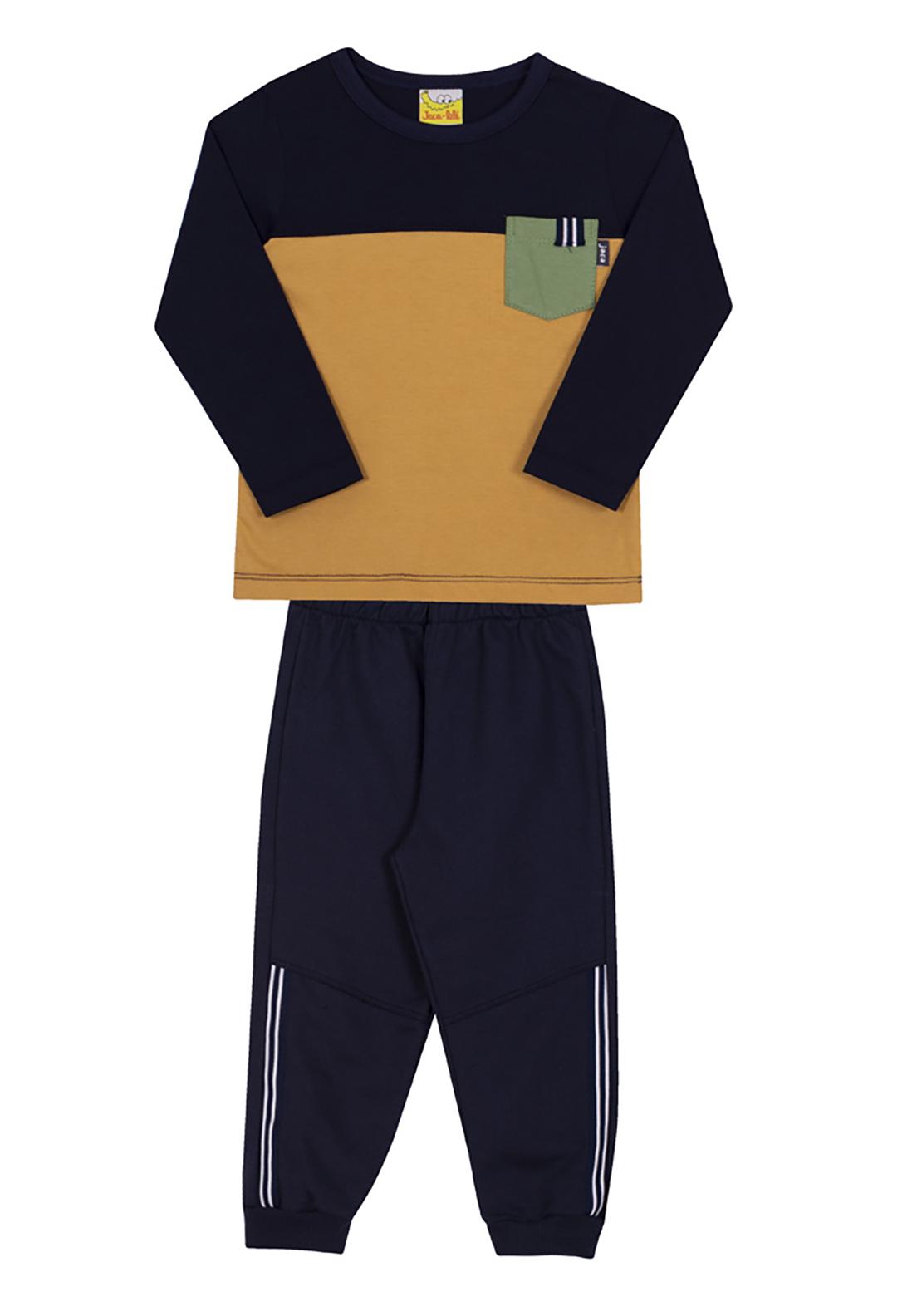 Conjunto Infantil Camiseta e Calça Moletom Jaca Lelé Marinho e Mostarda
