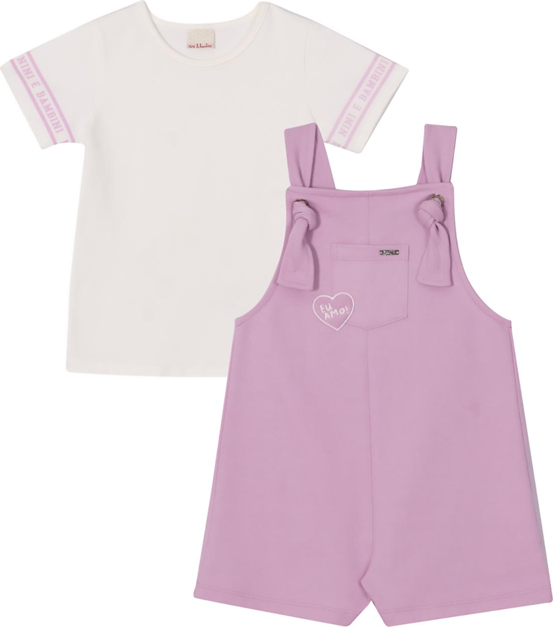 Conjunto Infantil  Camiseta e Jardineira Nini & Bambini Rosa e Offwhite