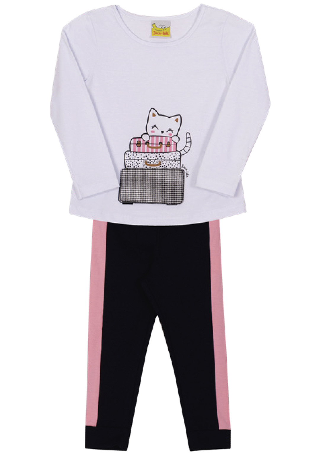 Conjunto Infantil  Camiseta e Legging Jaca Lelé Gatinha Branco e Preto