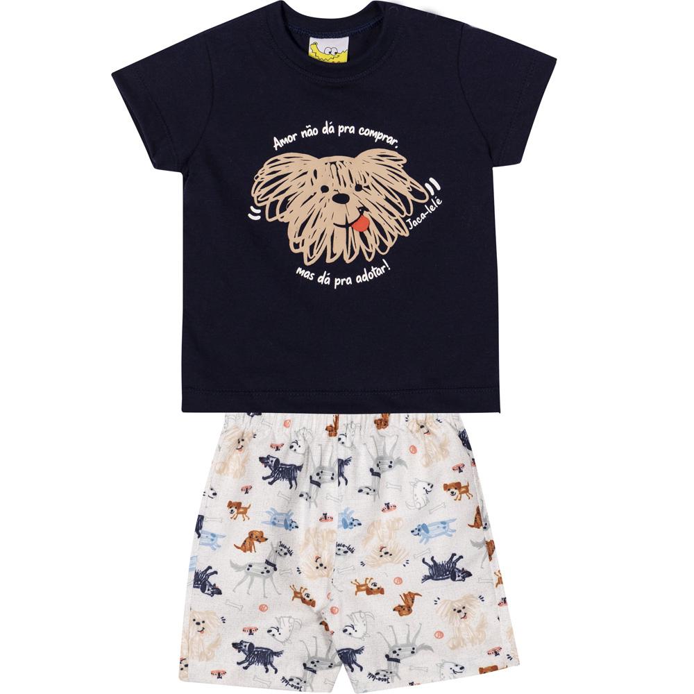 Conjunto Infantil Camiseta e Shorts JACA-LELÉ Cachorrinho Marinho