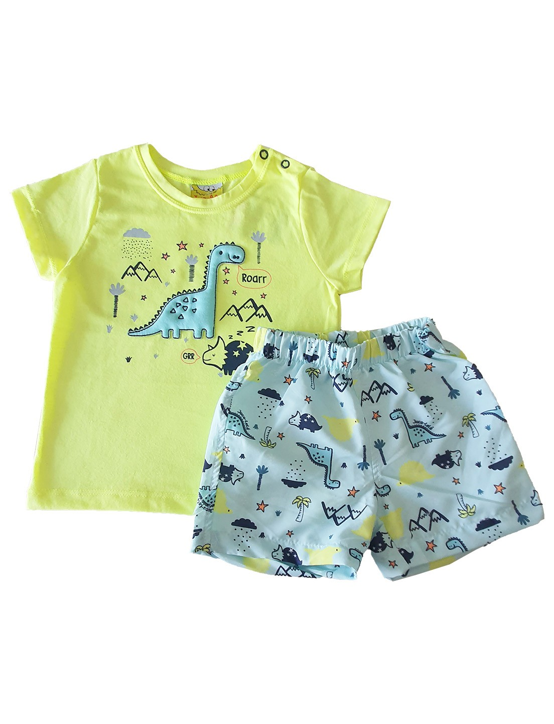Conjunto Infantil Camiseta e Shorts JACA-LELÉ Dino Amarelo e Mescla
