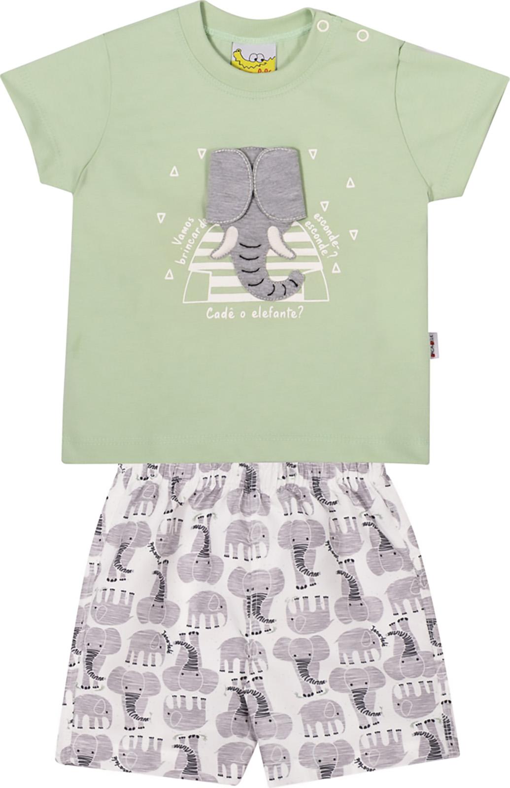 Conjunto Infantil Camiseta e Shorts JACA-LELÉ  Elefantei Verde e  Cinza