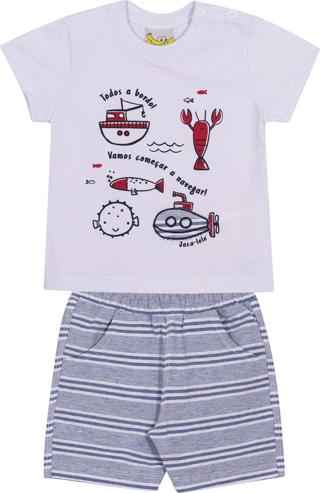Conjunto Infantil Camiseta e Shorts JACA-LELÉ  Navegar Branco e Azul