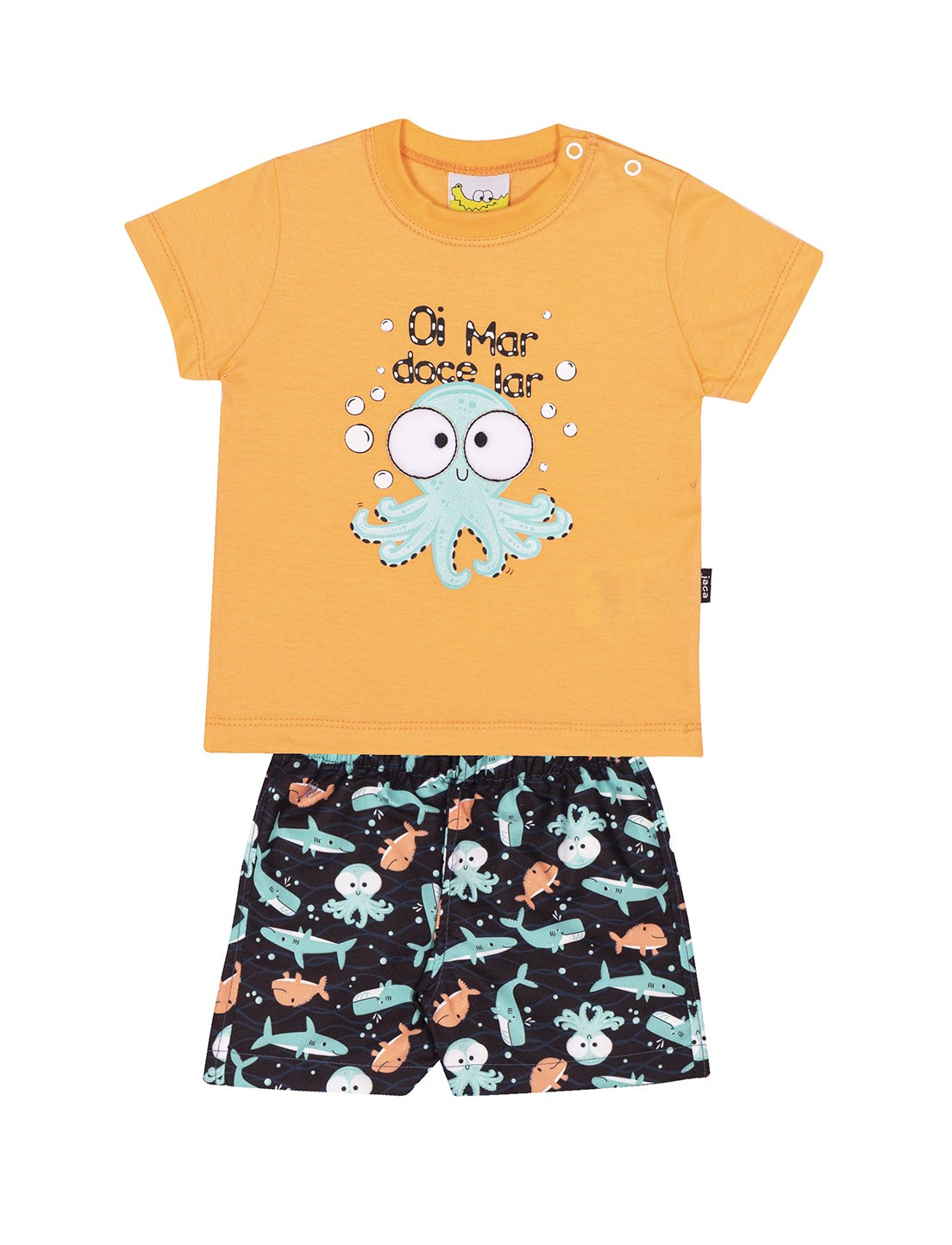 Conjunto Infantil Camiseta e Shorts JACA-LELÉ Polvo Laranja e Preto
