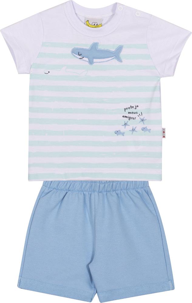 Conjunto Infantil Camiseta e Shorts JACA-LELÉ  Tubarão Branco e Azul