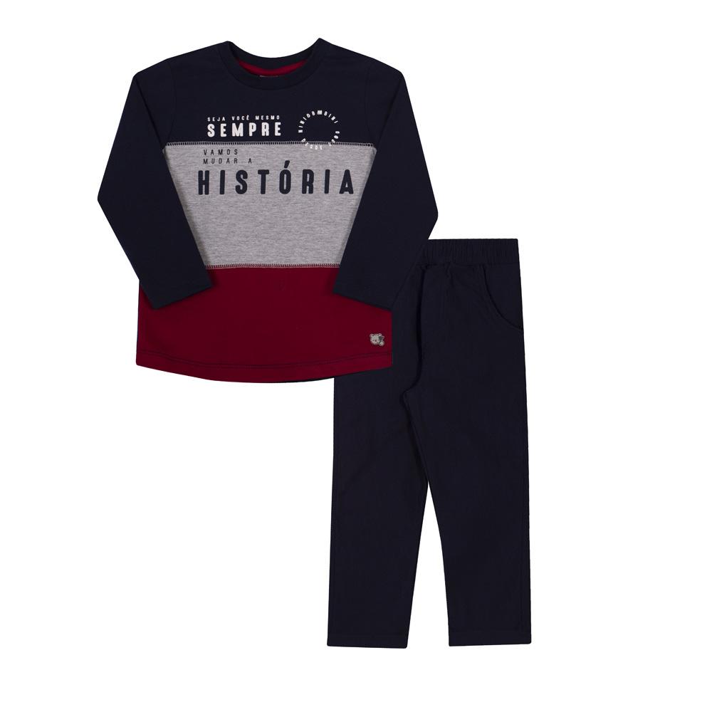 Conjunto Infantil Camiseta em Malha e Calça em Bengaline Nini & Bambini História Marinho, Mescla e Bordô