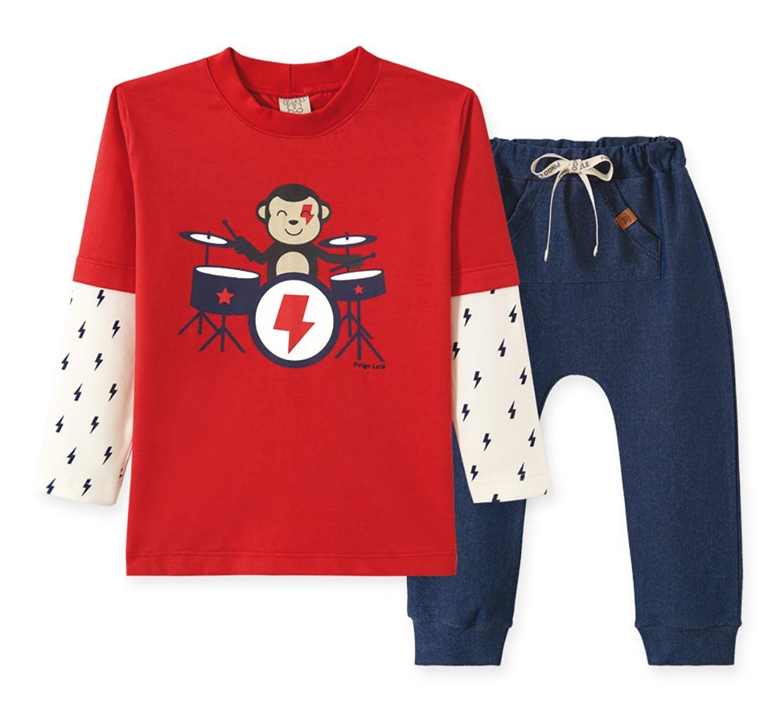 Conjunto Infantil Camiseta manga longa e  Calça Cotton Jeans Pingo Lelê Macaquinho Vermelho e azul