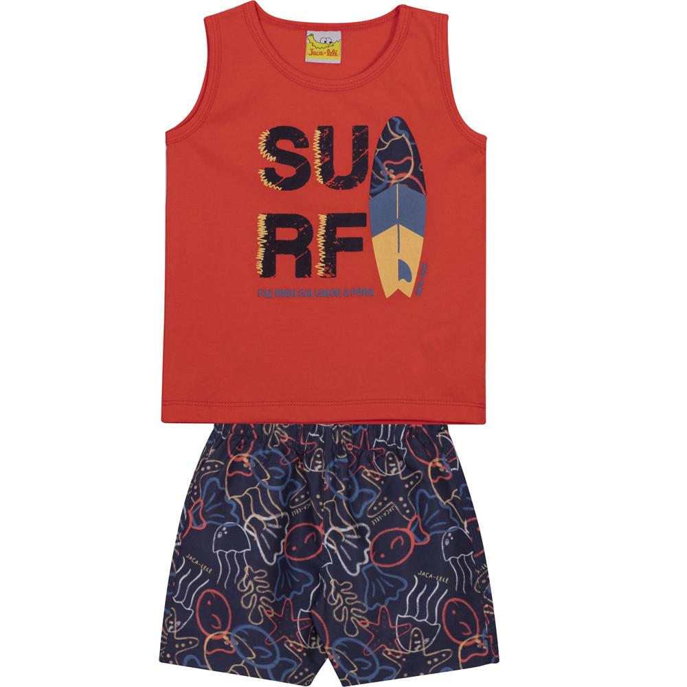 Conjunto Infantil Camiseta Regata e Shorts em Tactel JACA-LELÉ Surf Vermelho e Marinho
