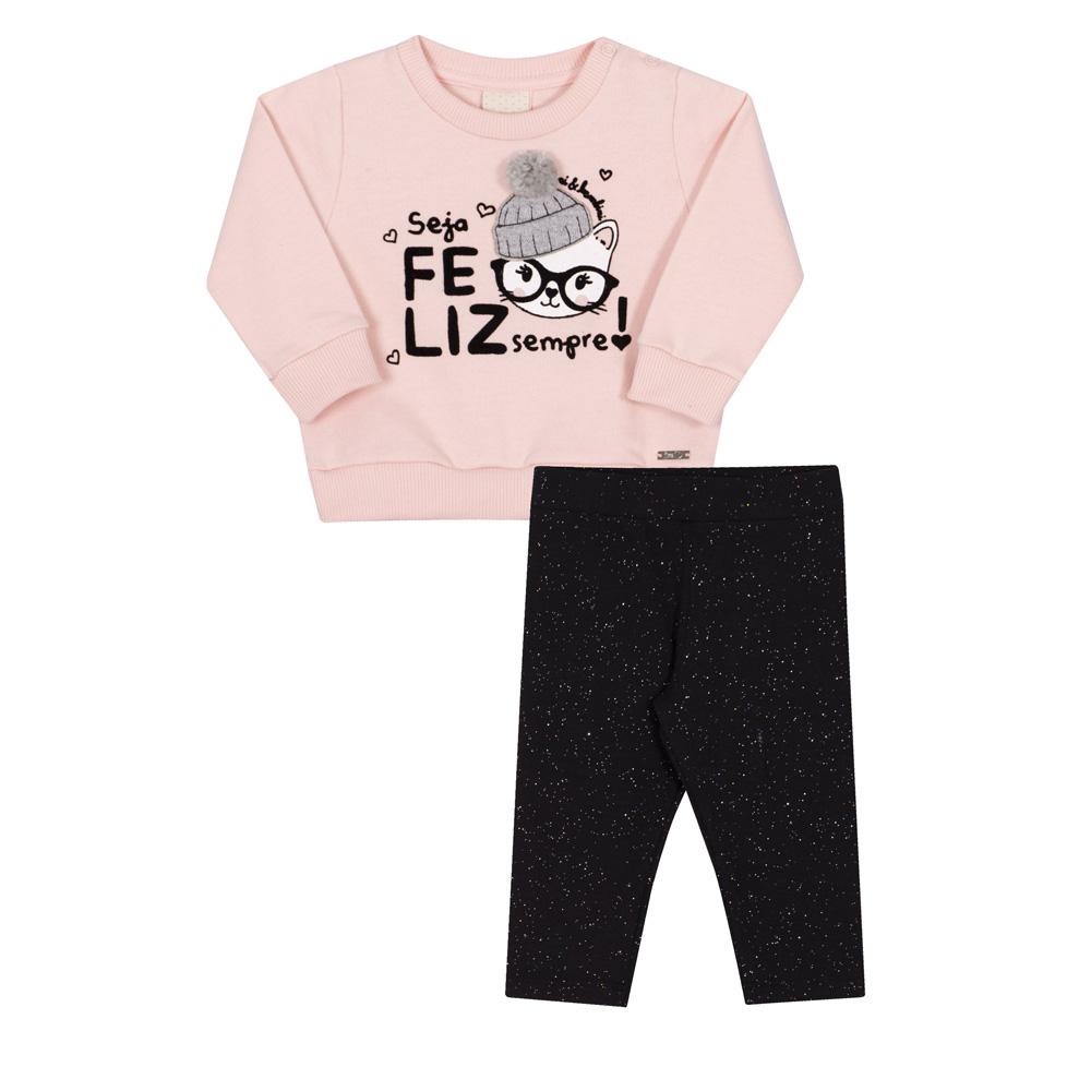 Conjunto Infantil Casaco e Legging Nini & Bambini Gatinha Seja Feliz Rosa e Preto