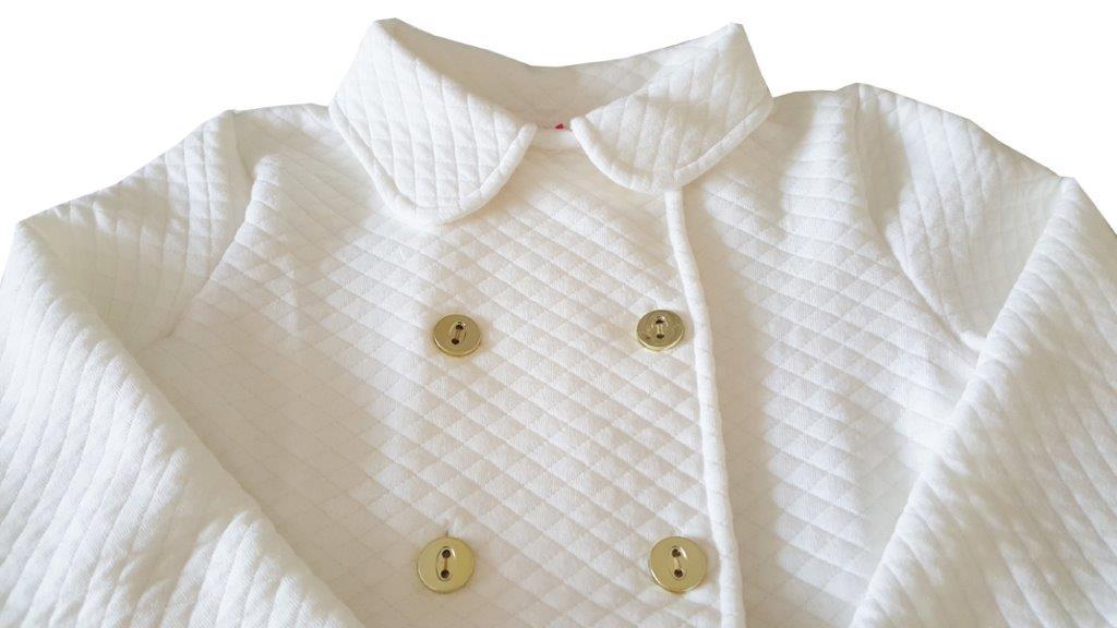 Conjunto Infantil Casaco Metelassê e Legging cotton TMX Marfim/Florzinhas / Tamanho 4