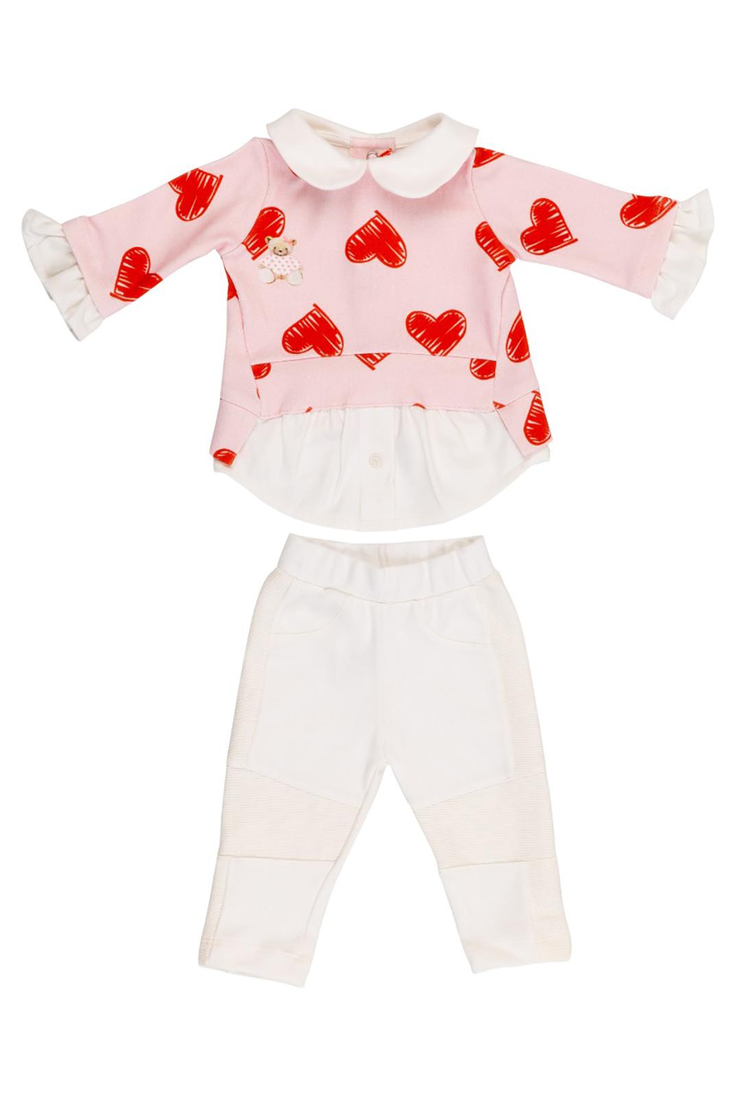 Conjunto Infantil Coquelicot  2 peças Moletom Camisa feminina e Calça montaria  Coração ursinha Rosa e Off White
