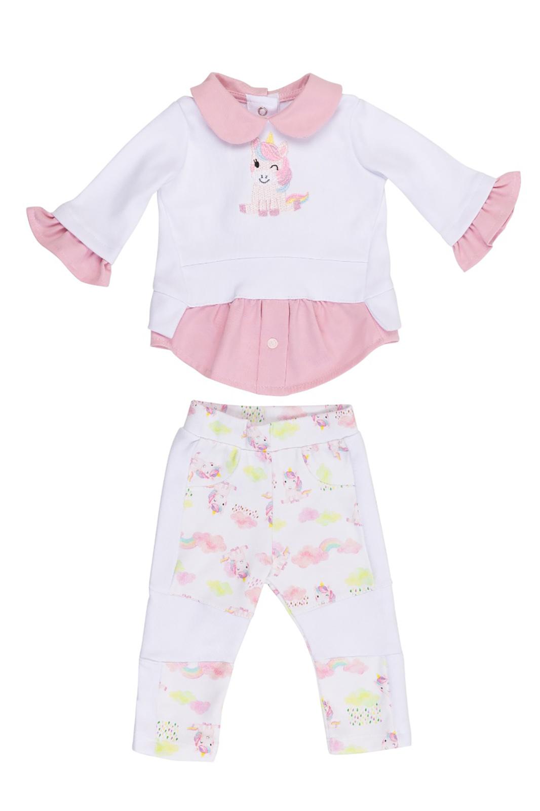 Conjunto Infantil Coquelicot  2 peças Moletom Camisa feminina e Calça montaria Unicórnio Branco e Rosa