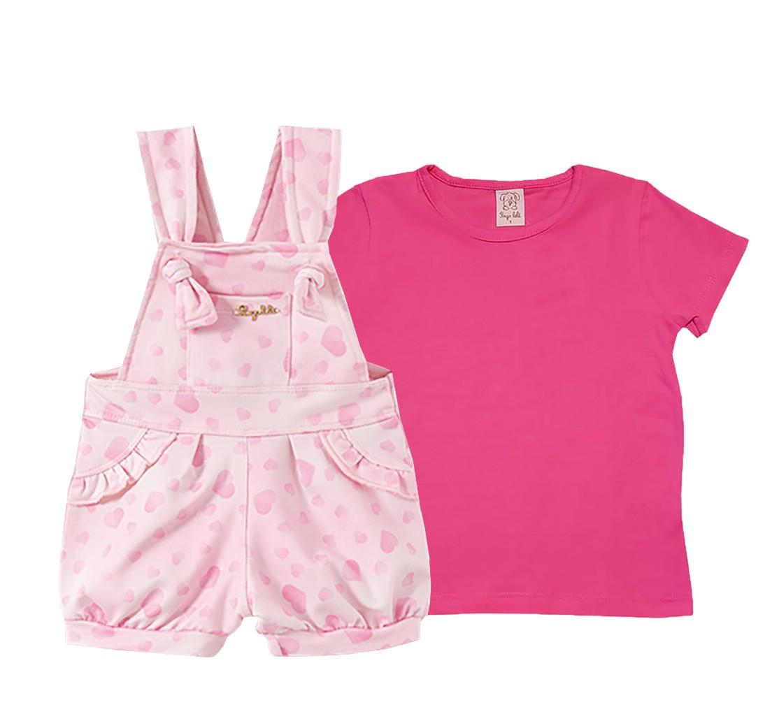 Conjunto Infantil Jardineira cotton Jeans e Camiseta  manga curta  Pingo Lelê Corações Rosa