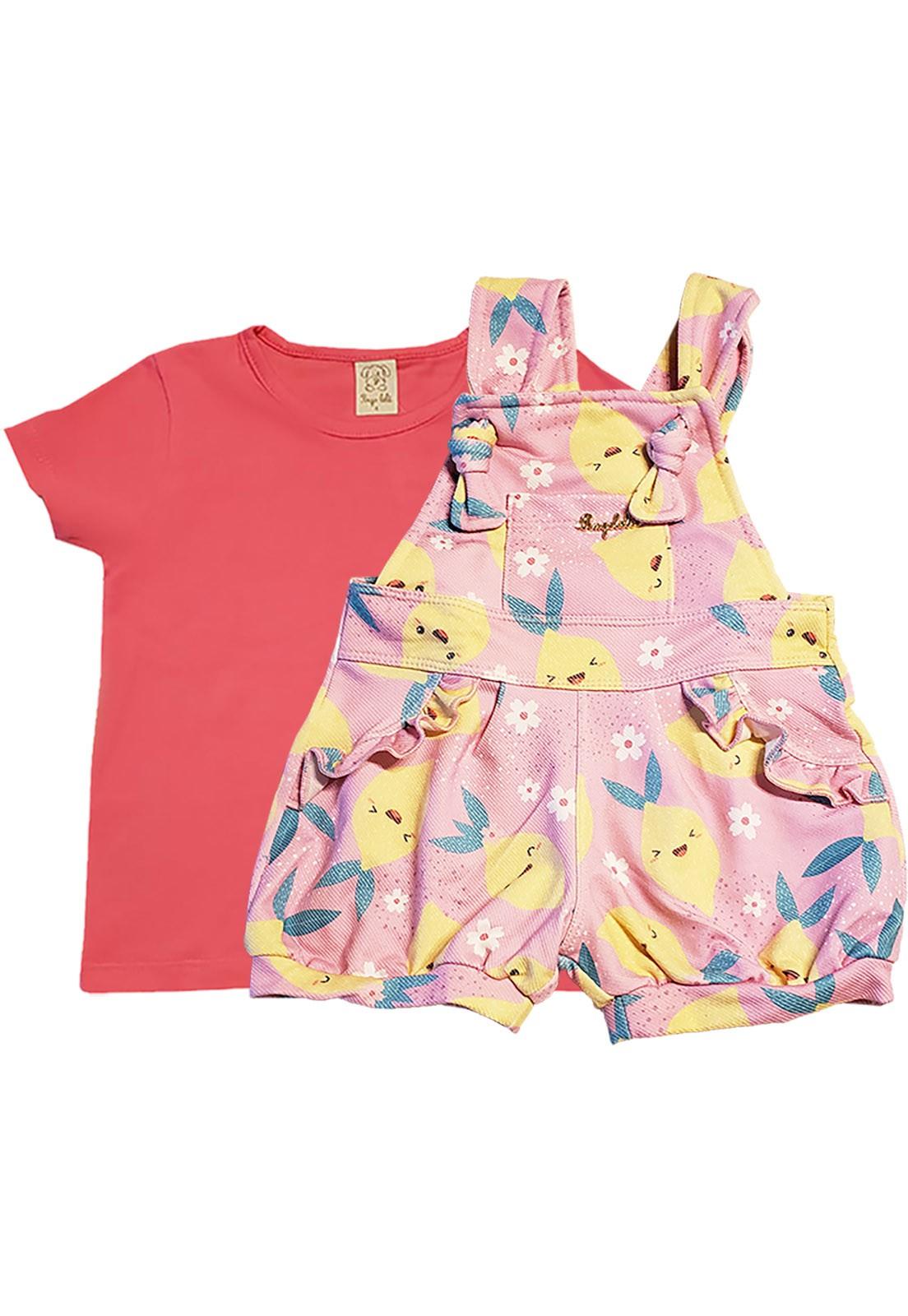 Conjunto Infantil Jardineira cotton Jeans e Camiseta  manga curta  Pingo Lelê Limão Rosa e Goiaba
