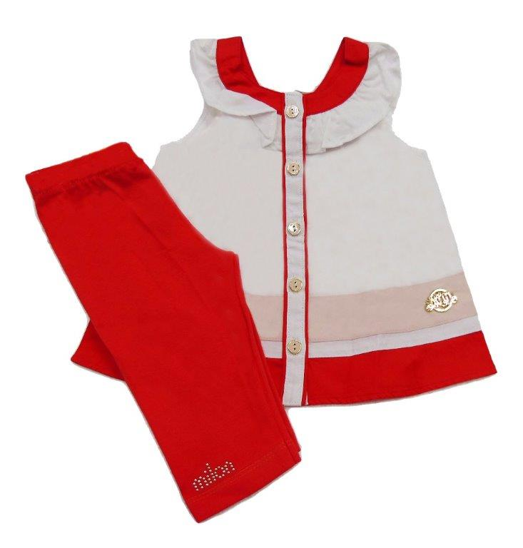 Conjunto Bebê Milon Feminino  branco/laranja